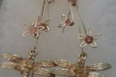 Citrine-Dragon-Fly-and-Pink-Tourmaline-Flowers-sterling-silver-earrings-88.00